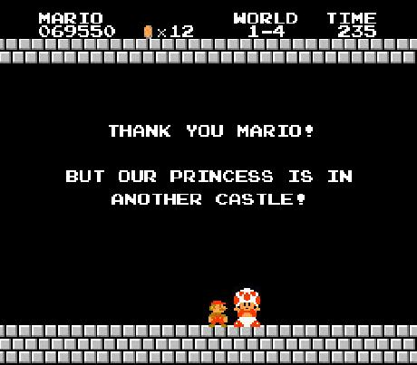 Add Letters Super Mario Princess Is In Another Castle Message Generator